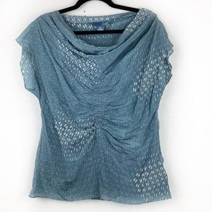 ANTHROPOLOGIE LIL Blue Printed Ruched Blouse Silk